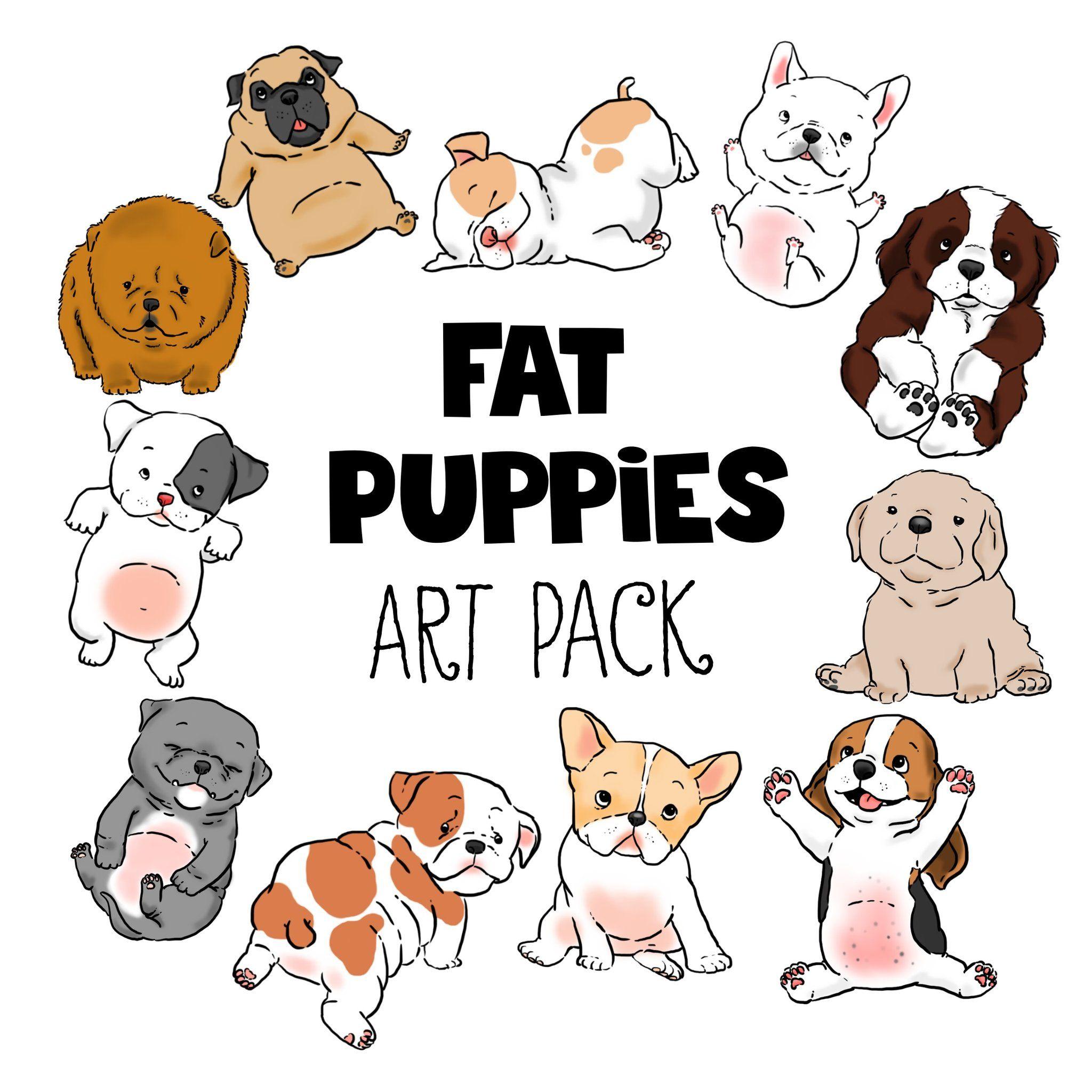 fat puppies clip art