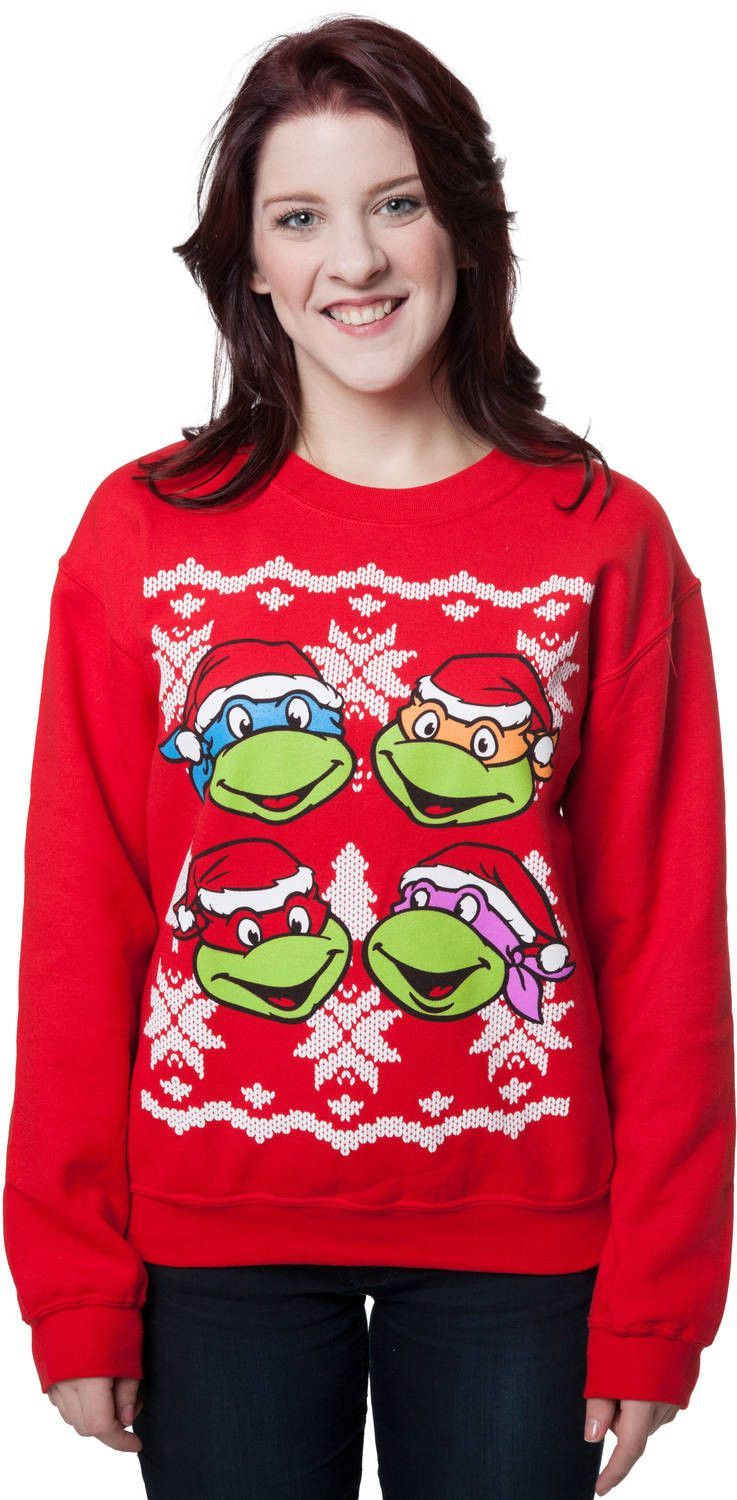 Faces Ninja Turtles Faux Christmas Sweater | Favorite Outfits ...