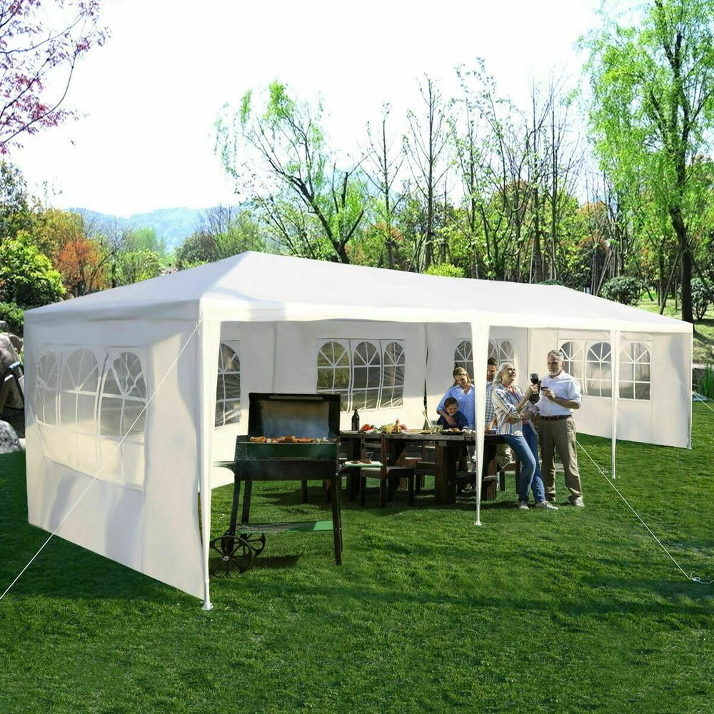 Costway 10 ft. x 30 ft. White Canopy Heavy-Duty Gazebo Pavilion Event Party Wedding Outdoor Patio Tent-AP2065WH - The Home Depot