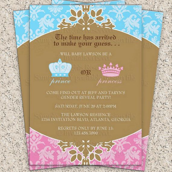 prince or princess royal gender reveal party by invitationblvd, Baby shower invitations