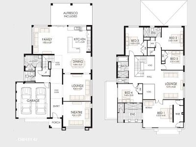 planos de casas 2 pisos 4 dormitorios