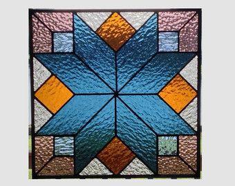 Vidriera Geometrica Panel Ventana Acero Azul Colcha Sampler
