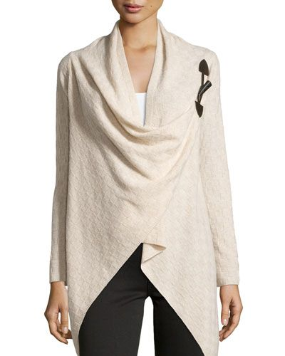 TAQZM Neiman Marcus Cashmere Check-Knit Toggle Cardigan, Oatmeal