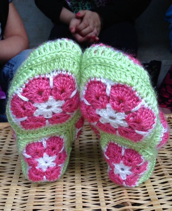 CROCHET PATTERN African Flower Granny Square Slippers Children and ...