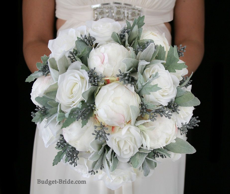 Large Peony Wedding Flower Bouquet With Frosted Grey