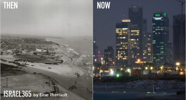 "A glorious photo of Tel Aviv ""then and now."" The city's name has a rich Hebrew meaning. ""Tel"" means an archaeological mound with layers of civilization below it, while ""Aviv"" means springtime and alludes to new and fresh vitality."