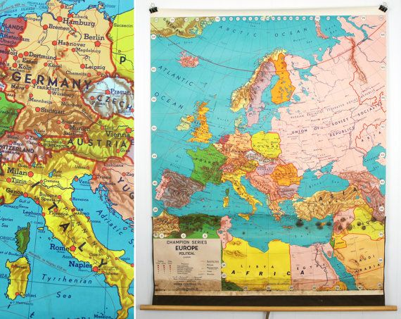 Vintage 1950's Weber Costello Pull Down Classroom Map - Map of Europe. $75.00, via Etsy.
