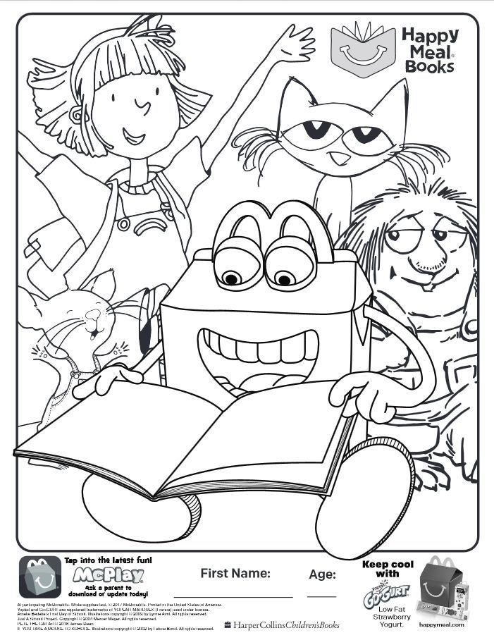 Here Is The Happy Meal Books Coloring Page Click The Picture To