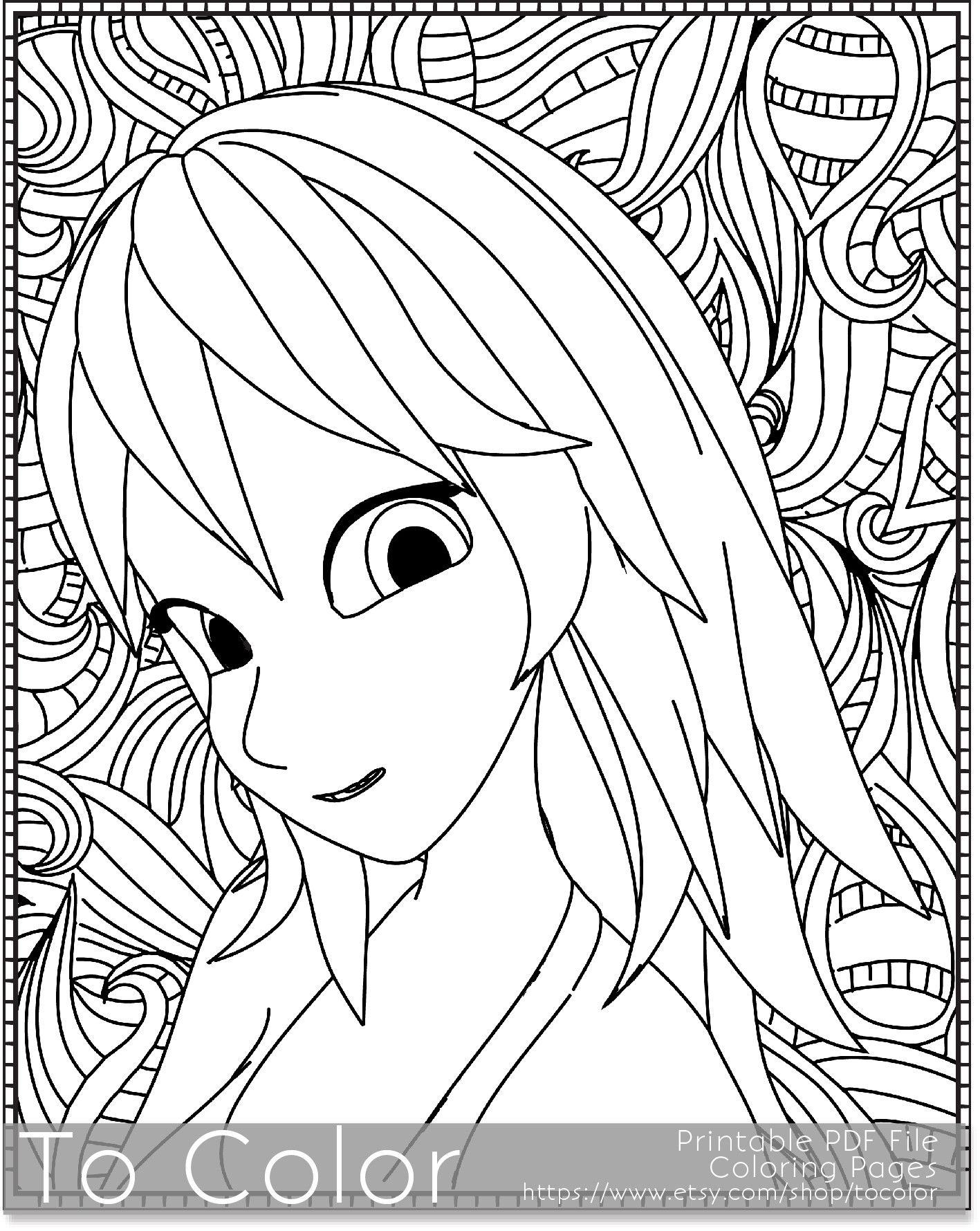 this printable coloring page for grownups features a young