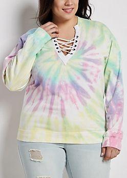 0fbf87998c Plus Tie Dye Lace-Up Sweatshirt