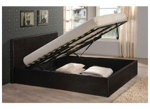 Black 5ft King Size Storage Ottoman Gas Lift Up Bed Frame TIGERBEDS BRANDED PRODUCT