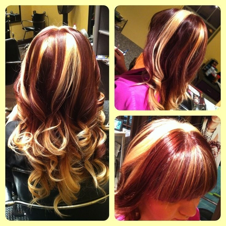 hair thinking to get red hair with blonde highlights - Auburn Hair Color With Blonde Highlights