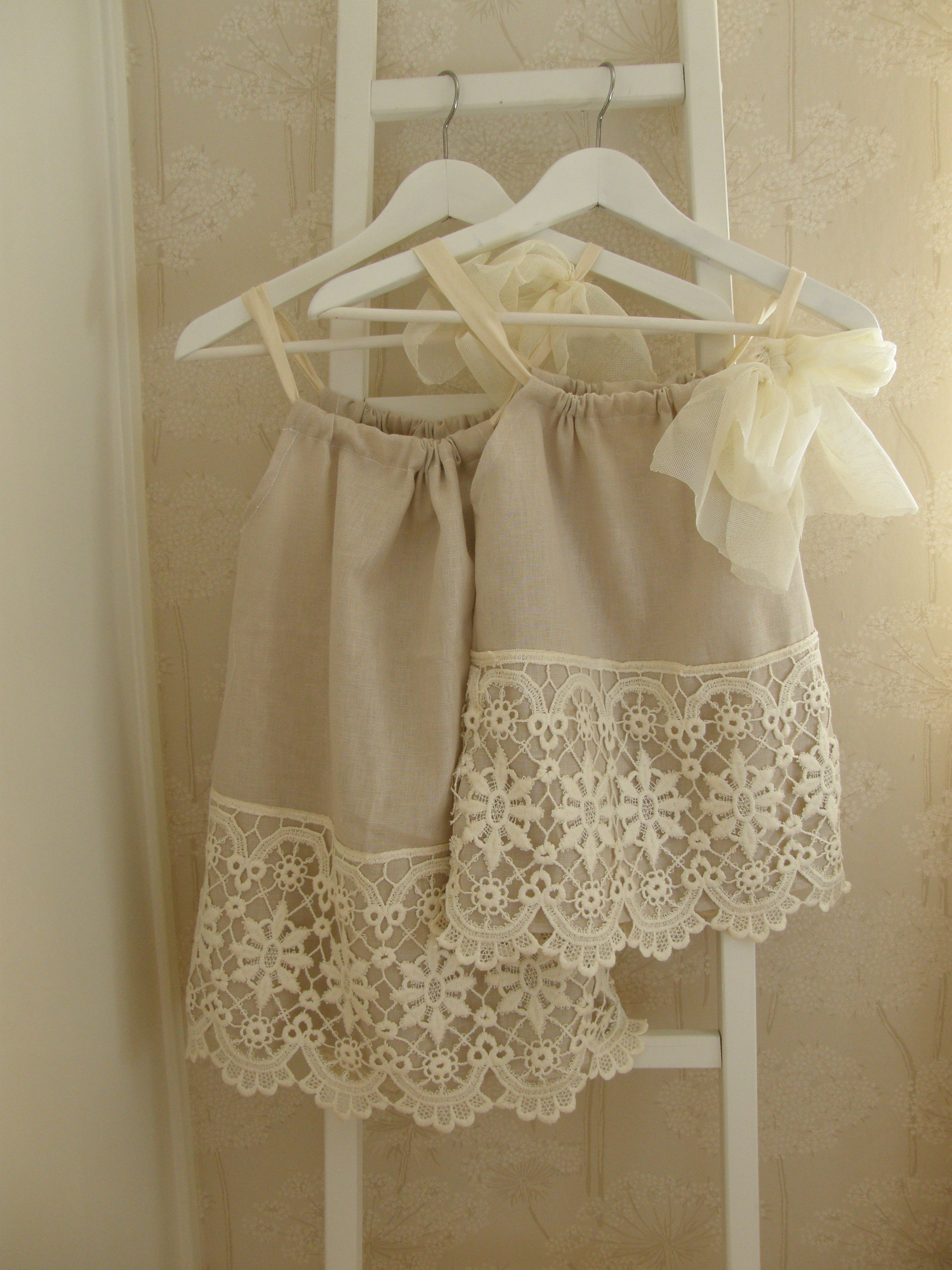 DIY girl dresses I can sew! Looks like a pillow case dress with a sheer ribbon and embellished with lace! & http://media-cache-ec4.pinimg.com/originals/87/cd/b3 ... pillowsntoast.com