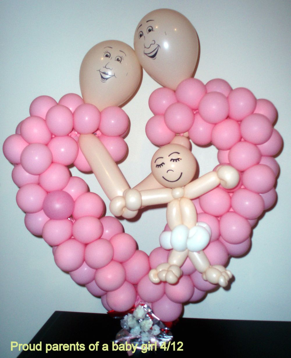 This balloon creation would be a nice center piece for any baby ...
