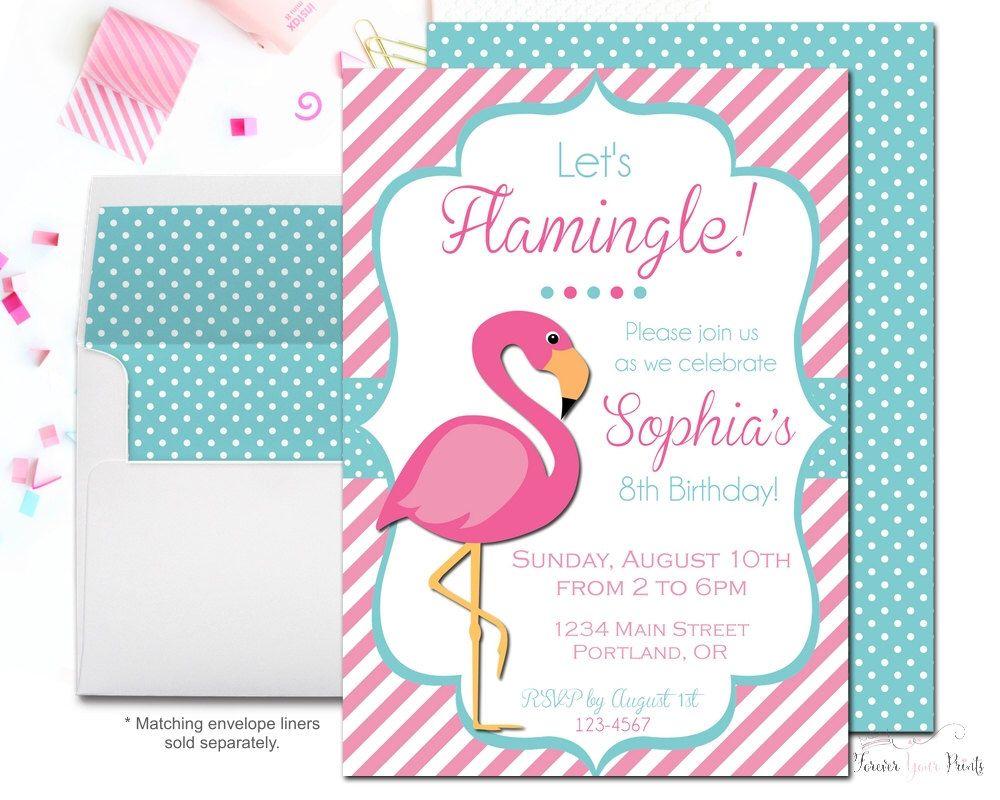 Flamingo Birthday Invitation, Flamingo Party Invitation, Flamingo ...
