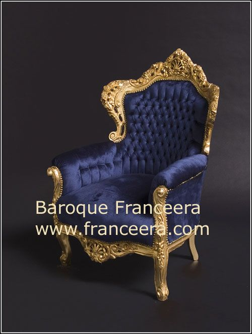 Royal Blue Fabric Gold Frame Baroque French Style Button Back