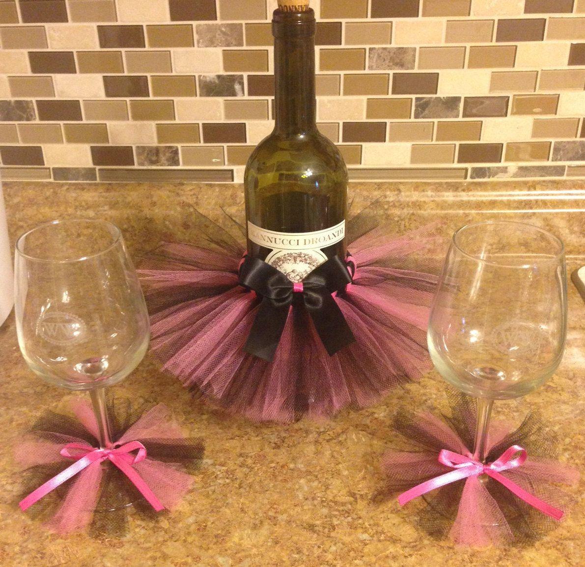 458dec8c09 Pink and black wine bottle tutu & 2 wine glass tutus bachelorette party  shower centerpiece by MmmSparkle on Etsy