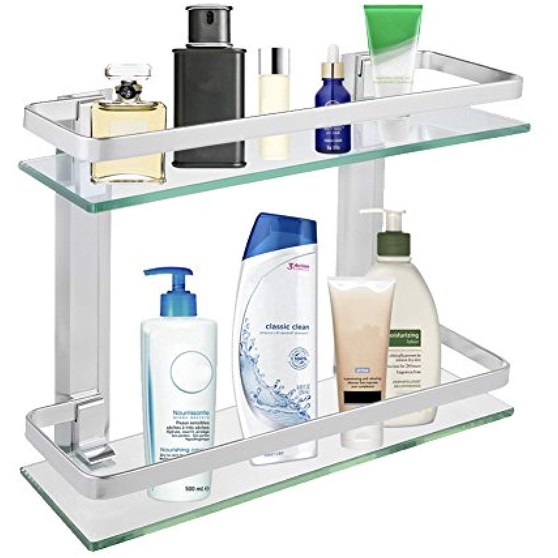 Glass bathroom shelf Shower Rectangle Shelf Organizer Holder Wall Mounted