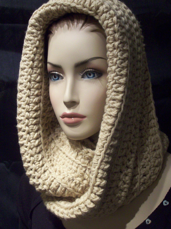 Crocheted infinity scarf tan neutural eternity unisex