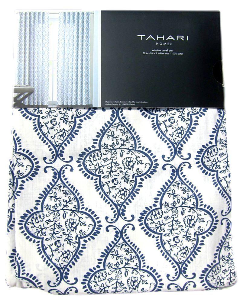 Tahari Navy Blue Damask Medallions 2pc Window Curtain Panels Pair