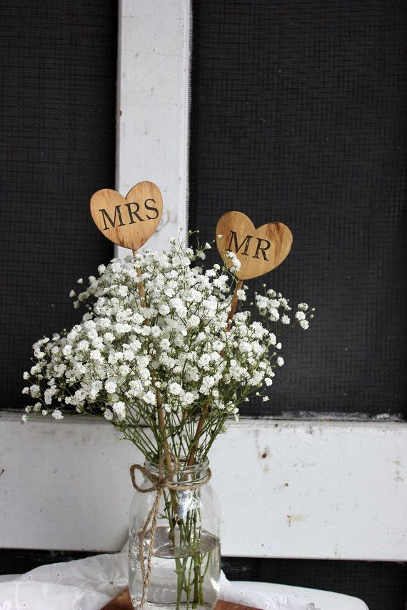 Mr And Mrs Caketoppers Heart On A Stick Rustic Country Barn Wedding Table Centerpieces