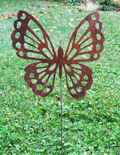 Butterfly Garden Stake Lawn Ornament Rust Garden Decoration Etsy
