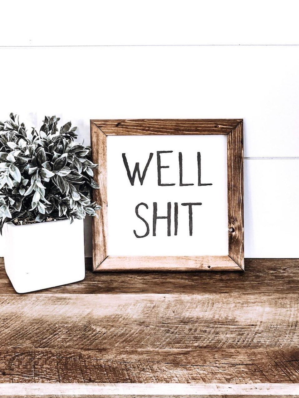 Photo of Well Shit Sign, Funny Bathroom Signs, Farmhouse Bathroom, Rustic Bathroom Sign