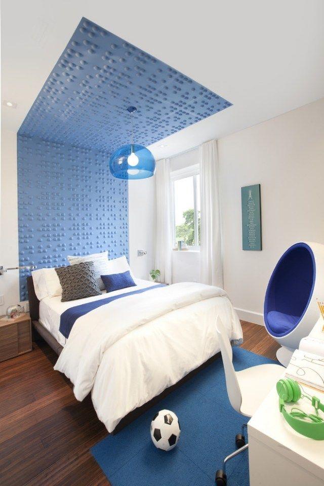modernes zimmer jungen blau weiß wand decke deko | modisch ...
