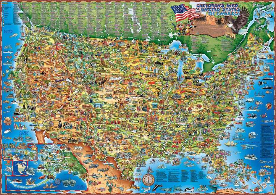 Childrens Map of the United States Map of the US for Kids maps