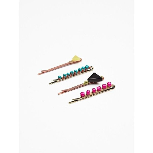 Free People 4 Pack Icon Bead Bobby Pins found on Polyvore
