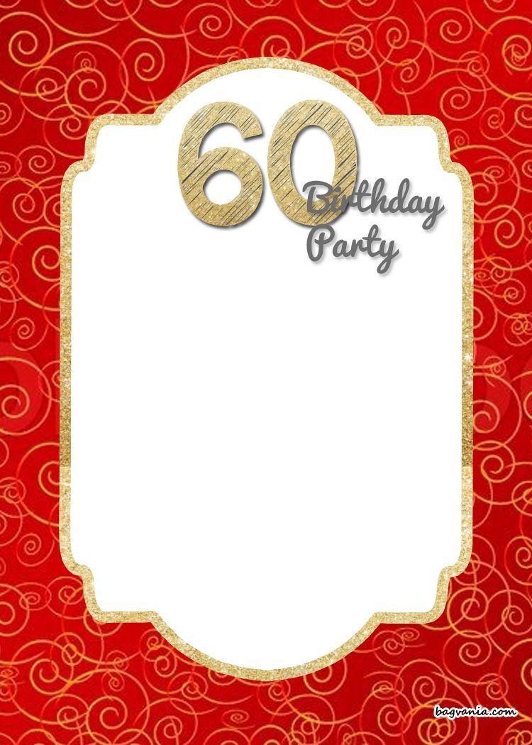 Awesome FREE Printable Th Birthday Invitation Templates Free - Red and gold birthday invitation templates