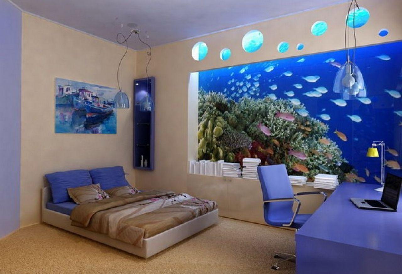 Fish aquarium in bedroom - Lovely Fish Aquarium Design Ideas Bedroom Admirable Futuristic