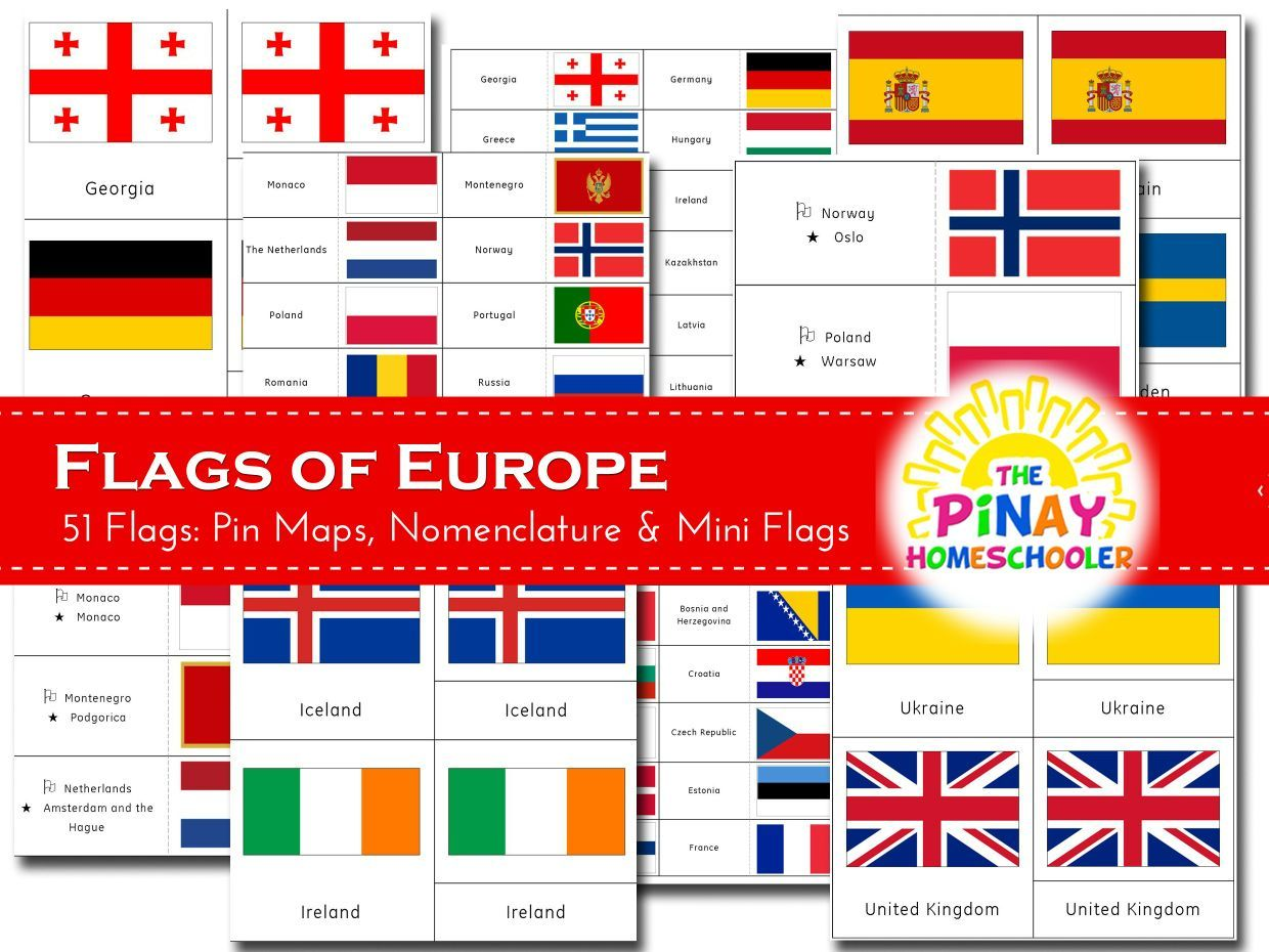 Flags of Europe $2 printable
