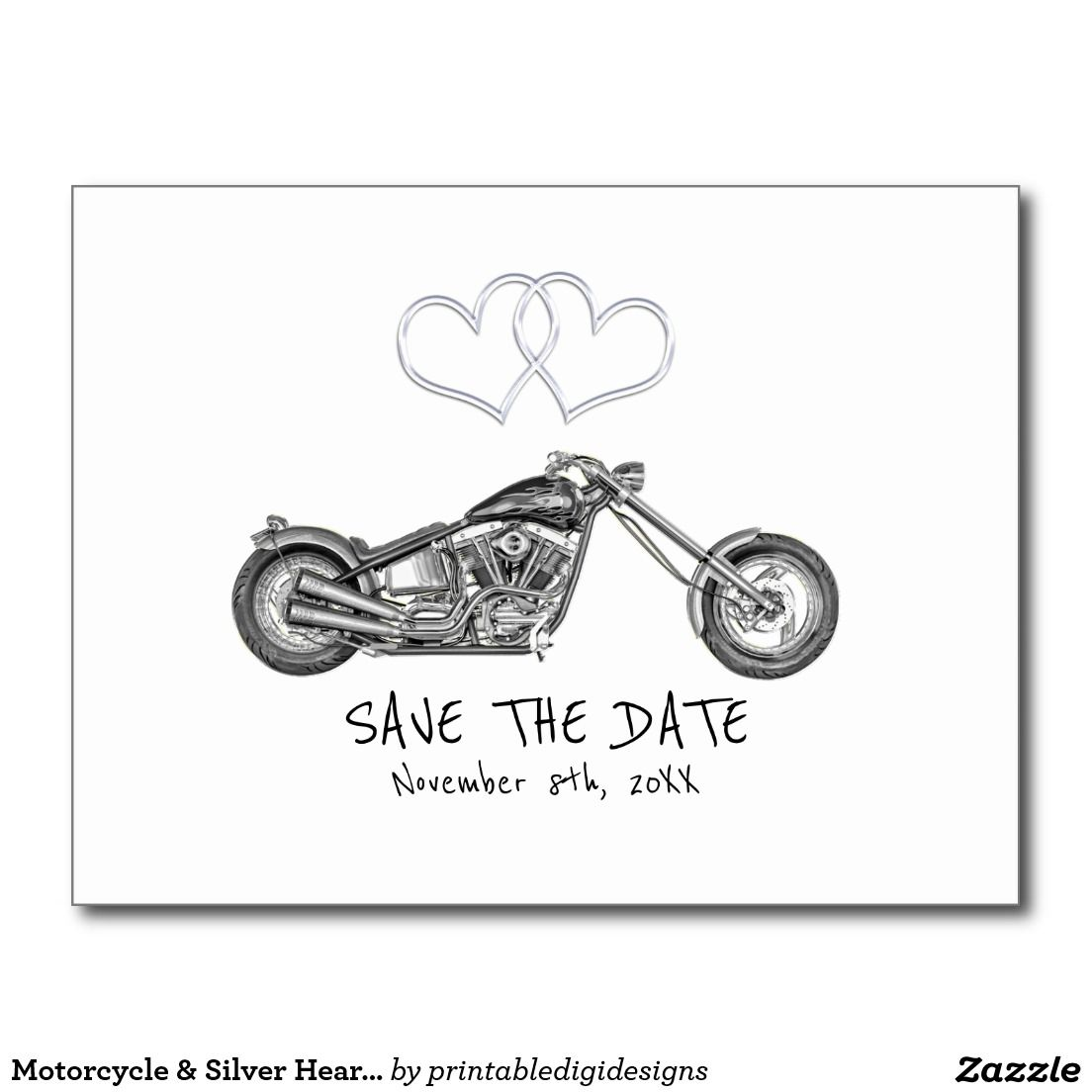 Motorcycle & Silver Hearts Biker Save The Date Postcard   Biker ...