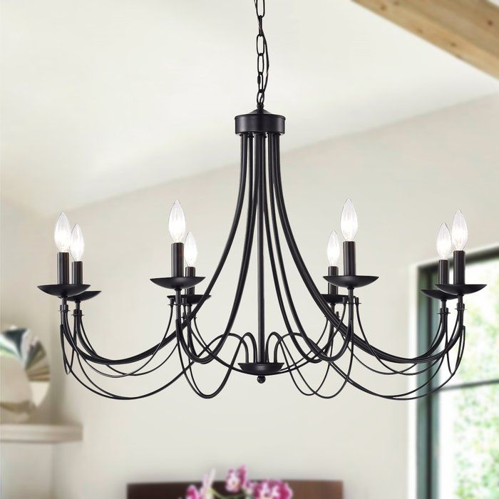 Rikard 8 Light Candle Style Classic Traditional Chandelier Black Chandelier Dining Room Traditional Chandelier Iron Chandeliers