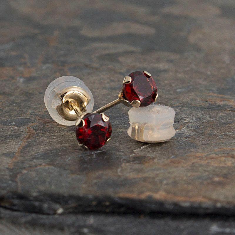 Women gold earrings Dainty earrings,Modern earrings,Fancy earrings Garnet earrings Red stone earrings Round earrings Fine gold earrings