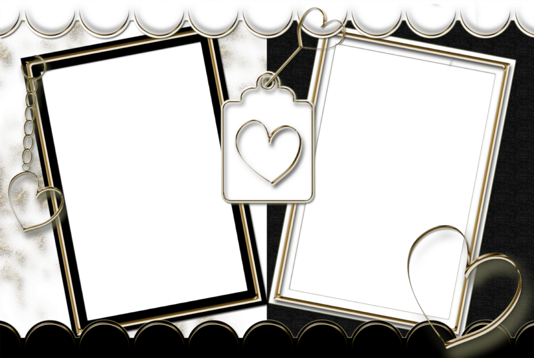 Double Transparent Frame Black and White with Hearts | Frames ...