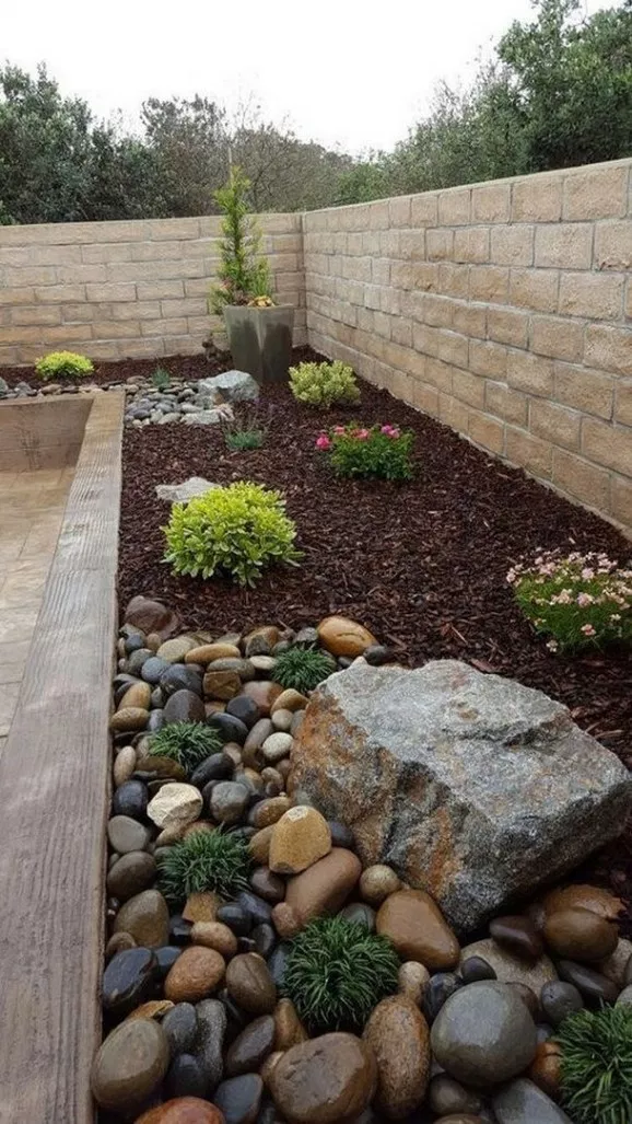 46 Rock Garden Ideas Landscaping For Make Your Garden Look Beautiful 7 With Images Small Backyard Landscaping Rock Flower Beds Backyard Garden