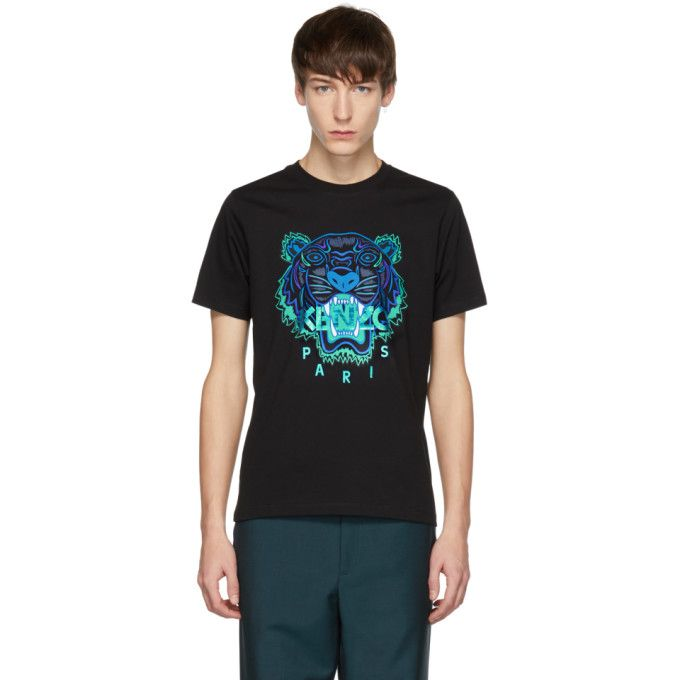 1bb31f8476 KENZO KENZO BLACK AND BLUE LIMITED EDITION HOLIDAY TIGER T-SHIRT. #kenzo  #cloth