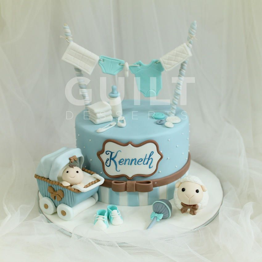 One Month Baby Boy Cake By Guilt Desserts Baby Gift Pinterest
