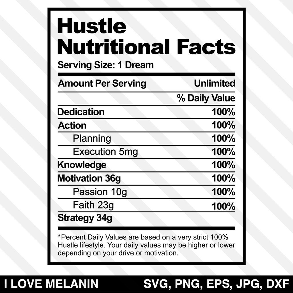 Hustle Nutritional Facts Svg Nutrition Facts How To Plan Holistic Health Nutrition