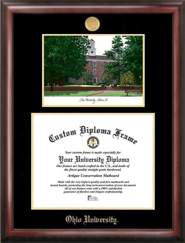 Ohio University Gold embossed diploma frame with Campus Images ...