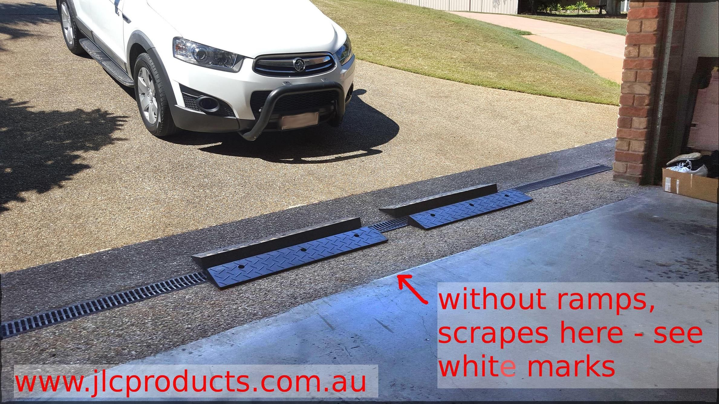 Jlc Ramps To Prevent Car Bottom Scraping On Entry To Garage Due To A Steep Driveway Goto Www Jlcproducts Com Au For More Rubber Ramp Car Ramps Driveway Ramp