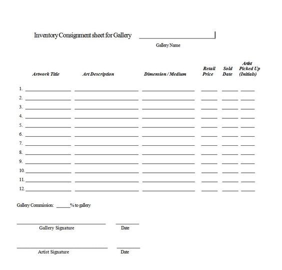 Consignment Agreement Form Templates - Excel Template Consignment