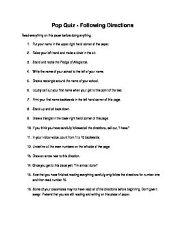 April Fools' Day Following Directions Worksheet | Middle School ...