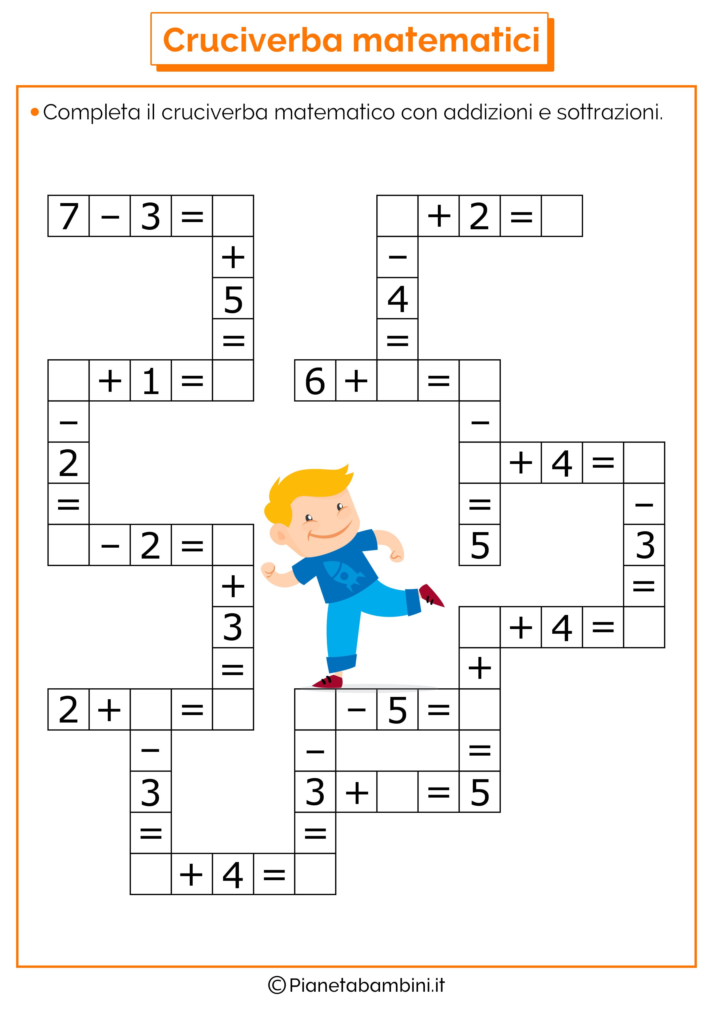 Cruciverba Matematici con Addizioni e Sottrazioni ...