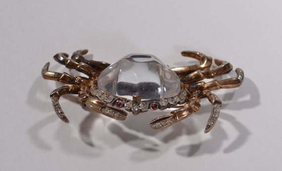 Crab brooch gold plate crystal pearl cancer horoscope vintage style new gift box