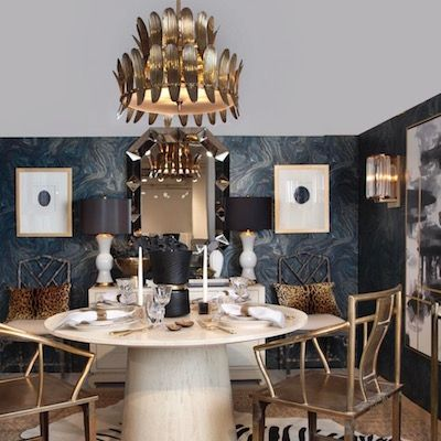 Analise Chandelier arteriors home round gold with leaf motif