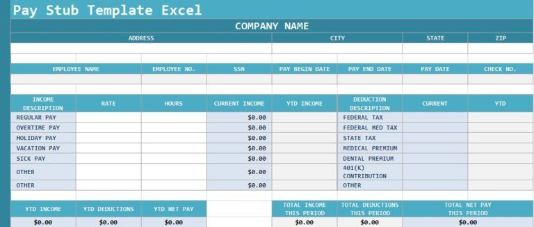 Pay Stub Template Excel Excel Templates Pinterest