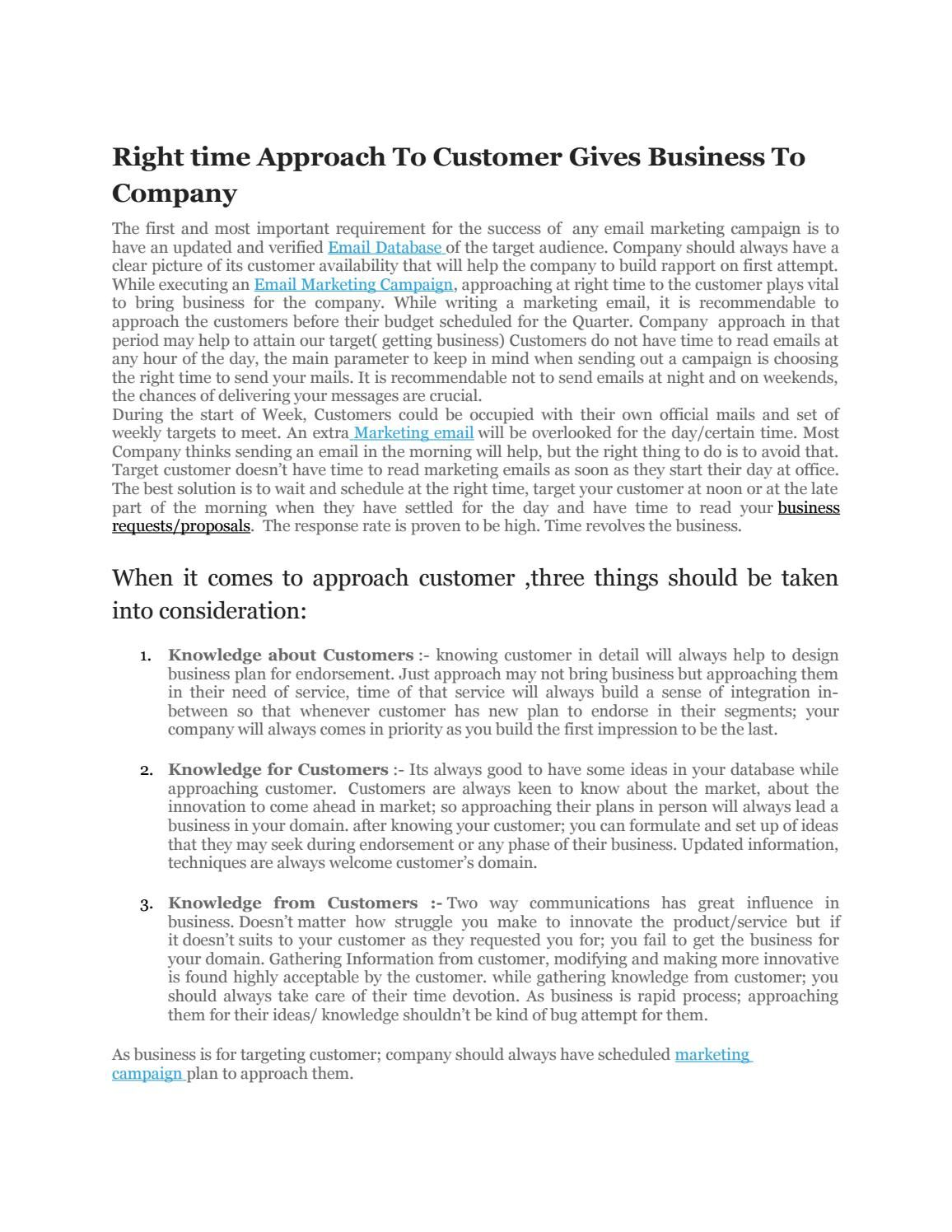 Right timRight time Approach To Customer Gie approach to